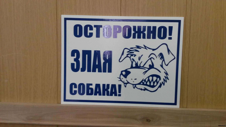 Осторожно злая собака синие буквы