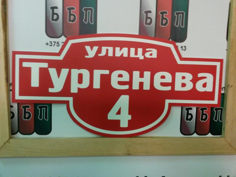 Табличка Авеню 50 на 25 см красный фон