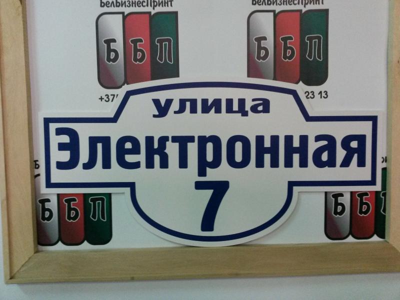 Табличка Авеню 50 на 25 см синие буквы 24 08 18