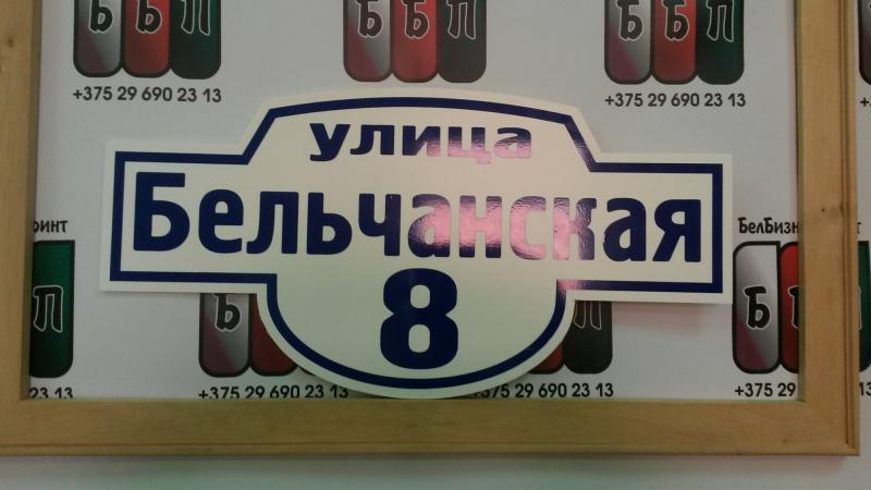 Табличка Авеню 50 на 25 см синие буквы