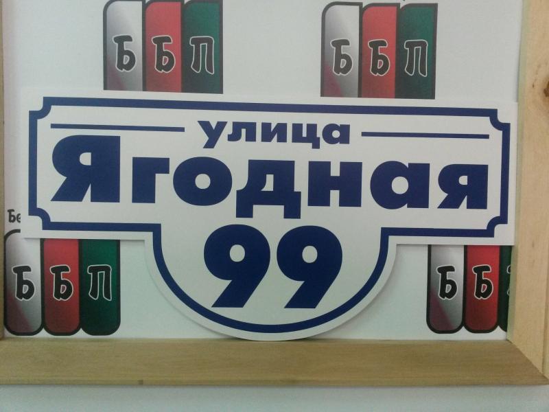 Табличка Классик 50 на 25 см белый фон синие буквы