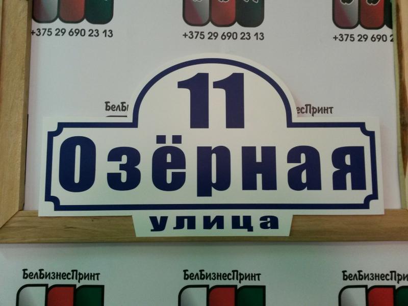 Табличка СТРИТ 50 на 25 см белый фон синие буквы