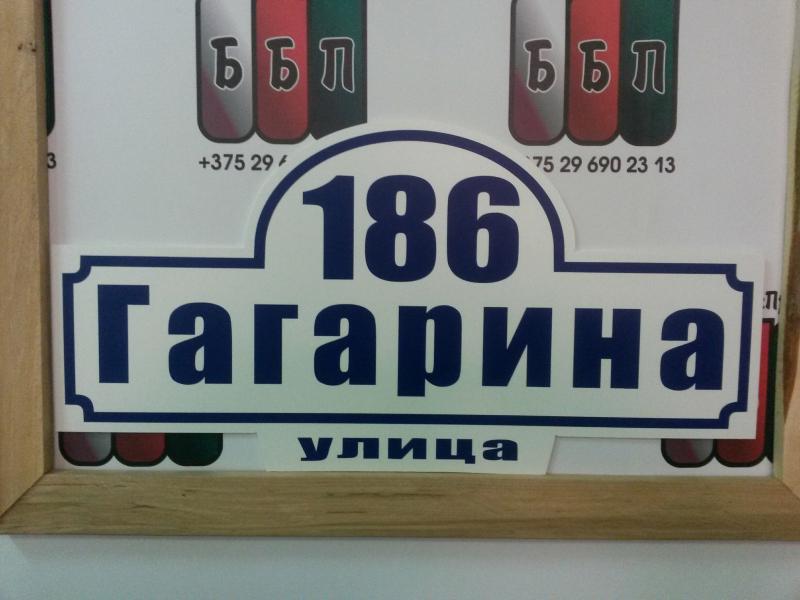 Табличка СТРИТ 50 на 25 см синие буквы