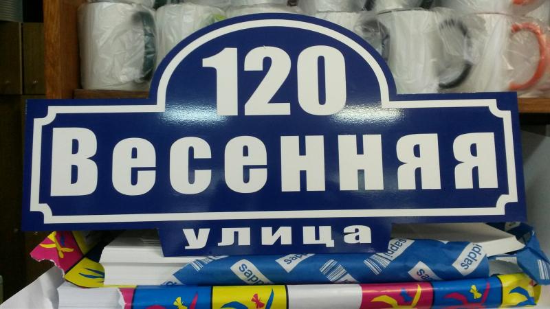 Табличка СТРИТ 50 на 25 см синий фон белые буквы