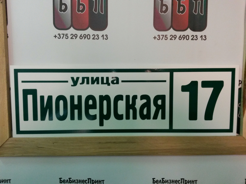 Табличка Техно 50 на 16 см зелёные буквы 21 09 18