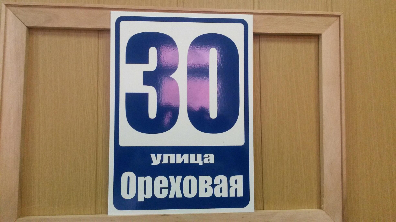 Табличка на дом 25 на 35 см синие цифры