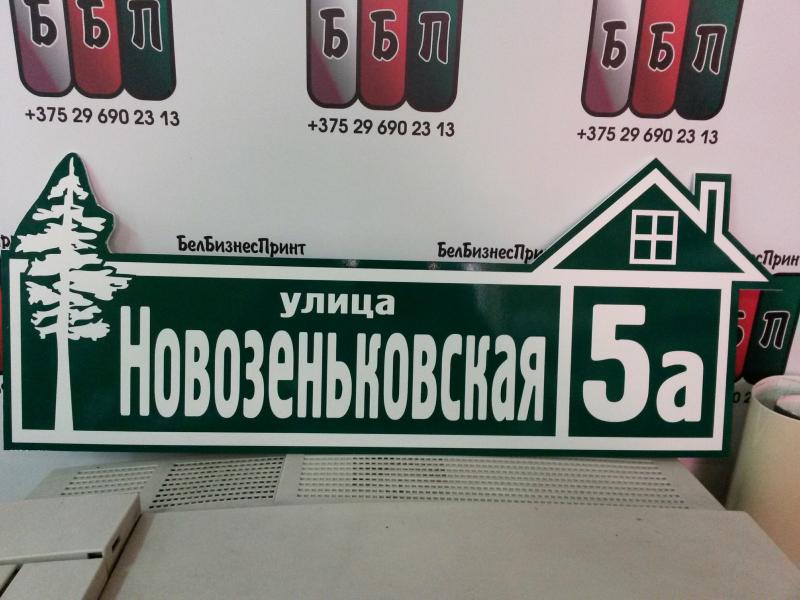 Табличка с домиком 60 на 20 см зелёный фон