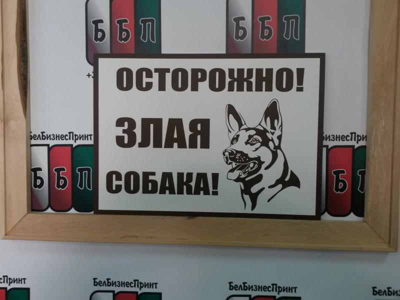 Табличка 25 на 35 см злая собака коричневые беквы